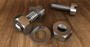 Nuts, bolts and washers on a table