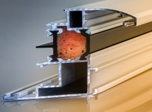 A picture of an aluminum fixture cut in half so you can the internal structure.
