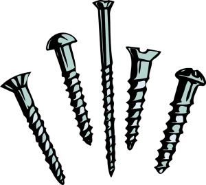 Digital art of five different types of screws.