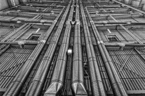 Metal pipes running through building