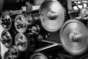 Set of steel gears in a machine