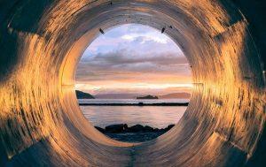 Steel tube facing the ocean