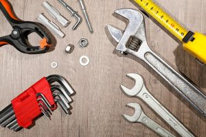 Set of wrenches and tools