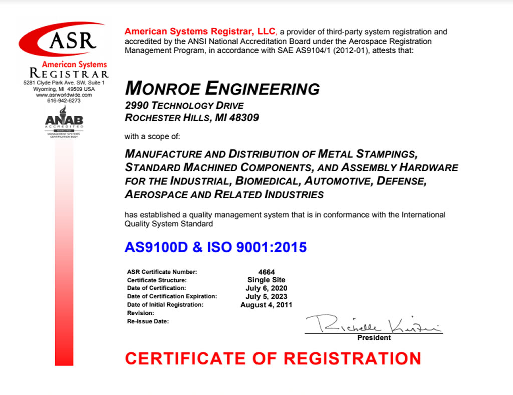 Quality monroe engineering monroe is as9100d iso 90012015 certified and has a diverse customer base of manufacturers distributors and catalog houses across several vertical xflitez Gallery